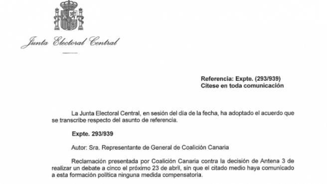 Resolución completa de la Junta Electoral sobre el debate a cinco de Atresmedia