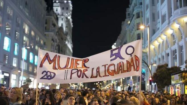 Manifestación del 8 de marzo de 2017 en Madrid por la igualdad entre hombres y mujeres.