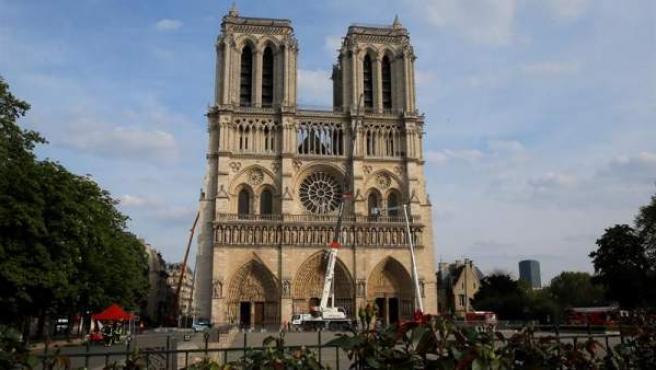 La catedral de Notre-Dame, tras su incendio.