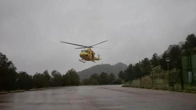 Rescatada en helicóptero una excursionista en Polop tras sufrir una fractura en una pierna
