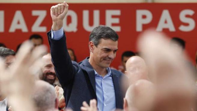 Pedro Sánchez en un mitin en San Sebastián.