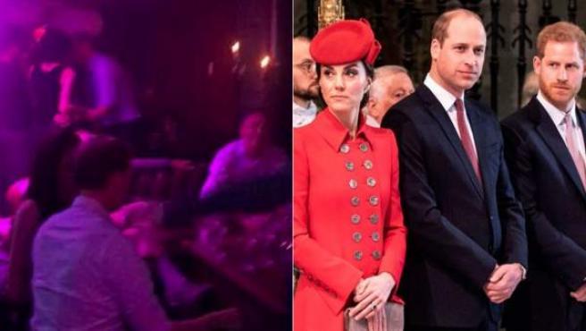 Kate Middleton, junto a los príncipes Guillermo y Harry.