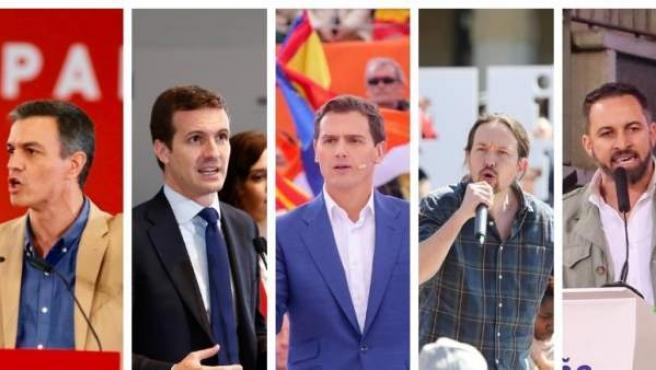De derecha a izquierda, Pedro Sánchez, Pablo Casado, Albert Rivera, Pablo Iglesias y Santiago Abascal.