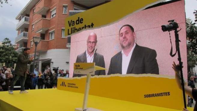 AV.- 28A.- Junqueras en un mitin desde prisión: 'Nos tenéis que hacer libres con vuestros votos'