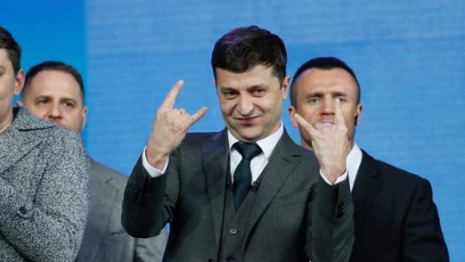 El humorista Vladimir Zelenski, durante el debate electoral que se celebró en el estadio Olímpico de Kiev (Ucrania).