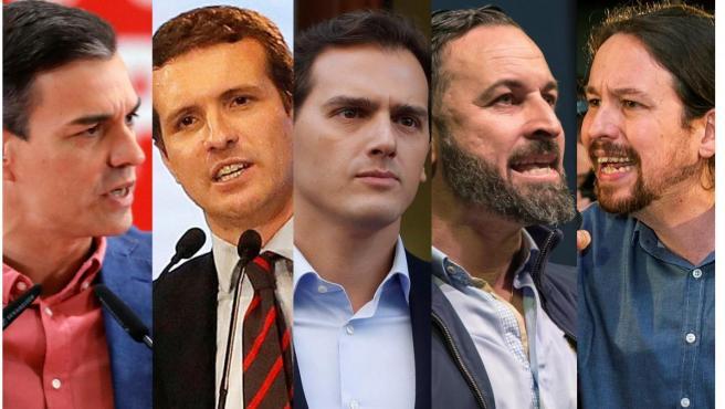 Sánchez, Casado, Rivera, Abascal e Iglesias.
