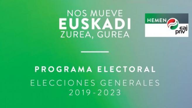 Portada del programa electoral del PNV.
