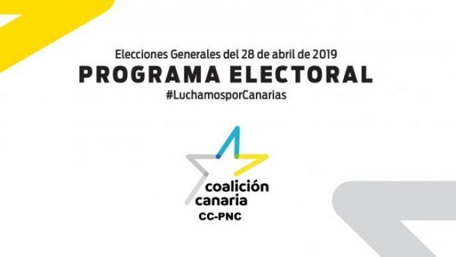 Portada del programa electoral de Coalición Canaria.
