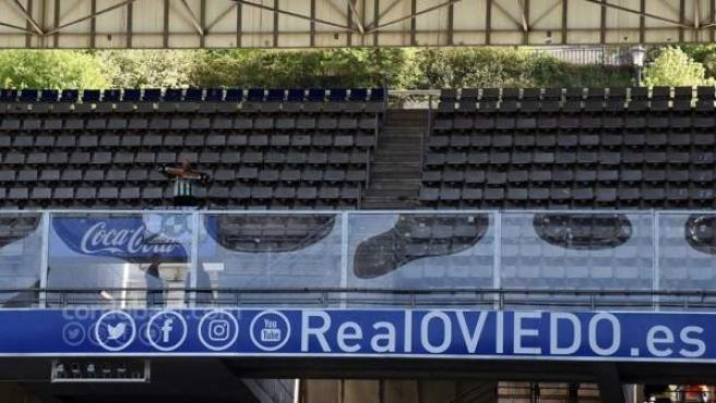 Javi Jiménez, el único aficionado del Córdoba ante el Oviedo.