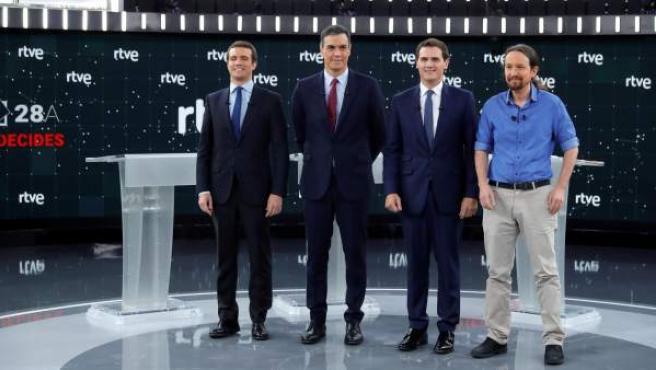 Pablo Casado (PP), Pedro Sánchez (PSOE), Albert Rivera (Cs) y Pablo Iglesias (Unidas Podemos), en el debate de RTVE.
