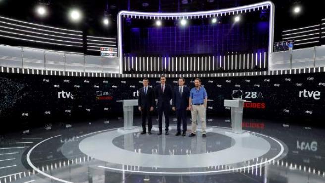 Los principales candidatos a la Presidencia del Gobierno en las elecciones generales, Pablo Casado (PP), Pedro Sánchez (PSOE), Albert Rivera (Cs) y Pablo Iglesias (Unidas Podemos).