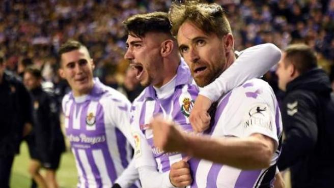 El Valladolid celebra su victoria ante el Girona, que les acerca a la permanencia