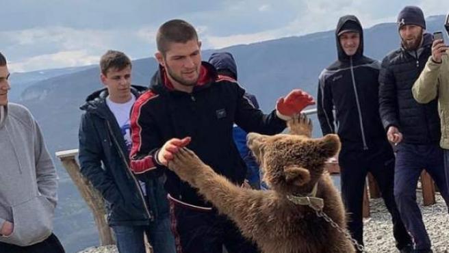 Khabib Nurmagomedov pelea contra un osezno.