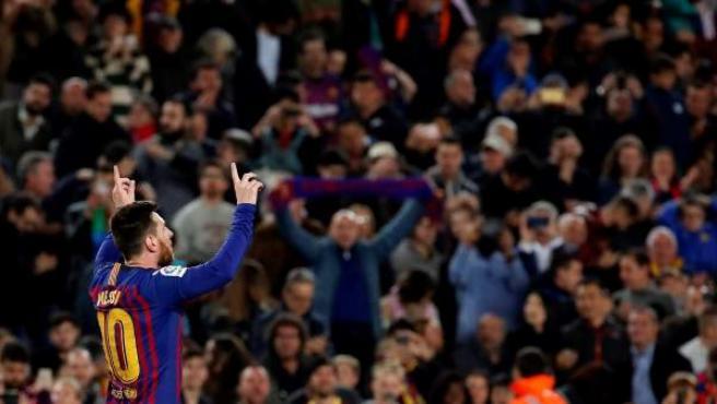 Messi celebra el gol de la victoria ante el Levante.