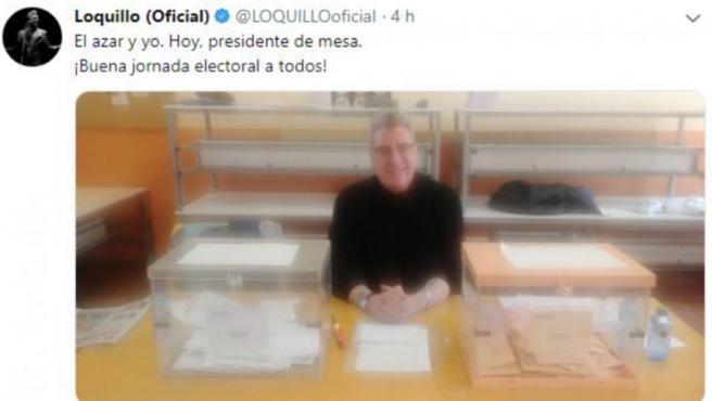 Loquillo ejerce como presidente de una mesa electoral en las elecciones del 28-A.