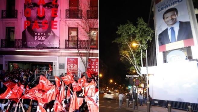 Vista de las sedes del PSOE, ganador de las elecciones del 28-A, y del PP en Madrid.