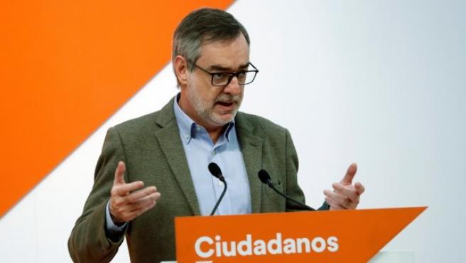 El secretario general de Ciudadanos, José Manuel Villegas, durante la rueda de prensa que ofreció en la sede de su partido donde hizo un balance del año 2018.