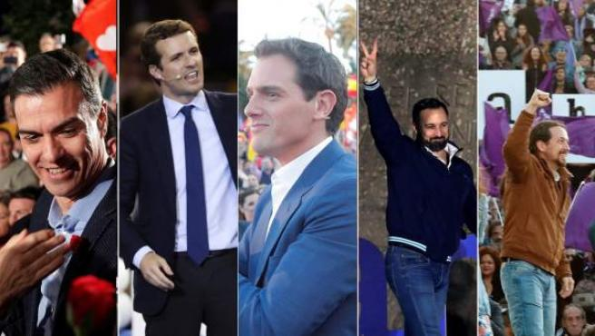 Sánchez, Casado, Rivera, Abascal e Iglesias, en sus cierres de campaña.