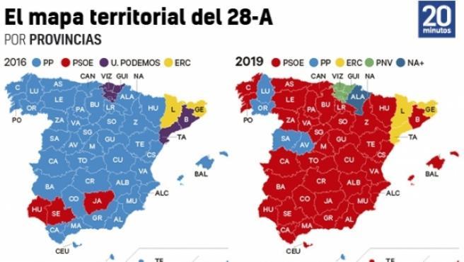 28-A: mapa de resultados por provincias.
