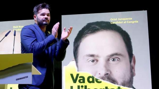 El candidato de ERC al Congreso Gabriel Rufián celebra la victoria de su partido en Cataluña tras las elecciones generales del 28A.
