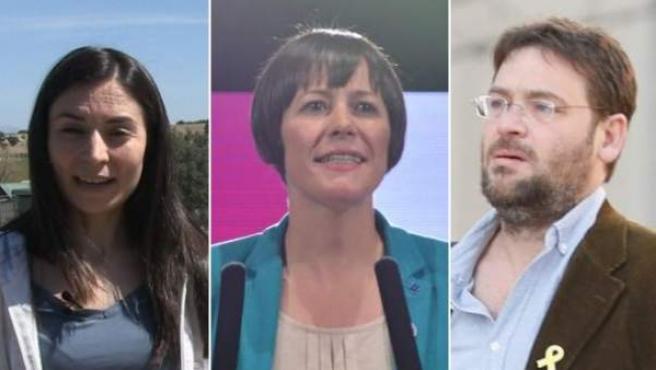 Laura Duarte (Pacma), Ana Pontón (BNG) y Dante Fachín (FR).