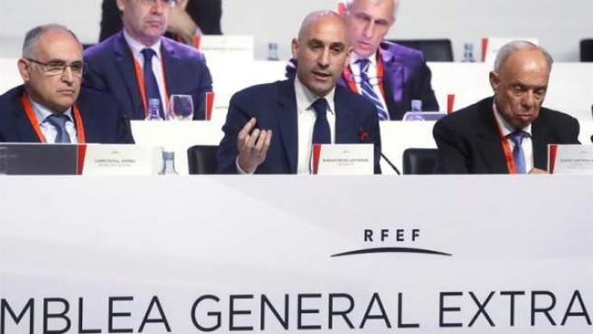 Luis Rubiales, en la Asamblea general extraordinaria de la RFEF