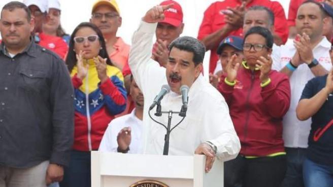 El presidente de Venezuela, Nicolás Maduro, durante un discurso en Caracas.