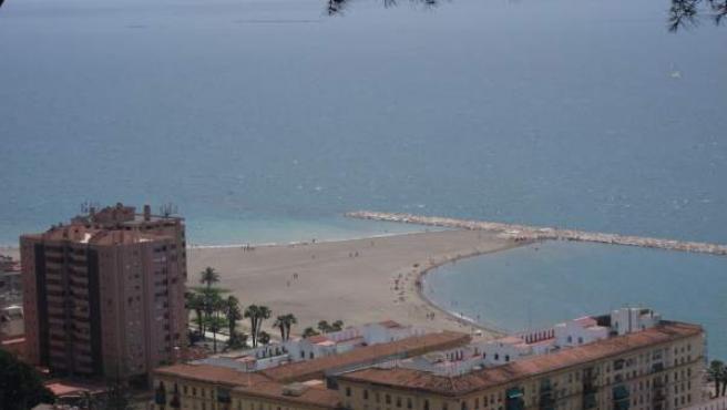 Playa De La Malagueta En Málaga Capital Desde El Castillo De Gibralfaro Turismo