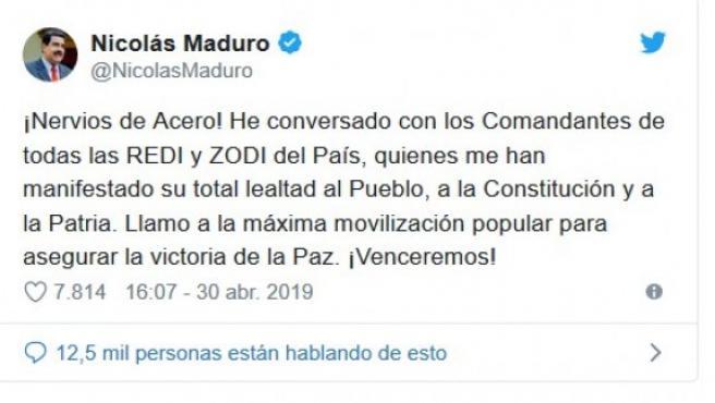 El tuit de Maduro tras el levantamiento de Juan Guaidó.
