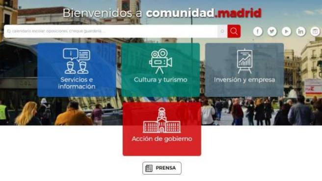 Vista de la página web de la Comunidad de Madrid.