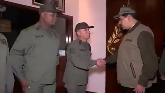 Nicolás Maduro durante la marcha militar del 2 de mayo.