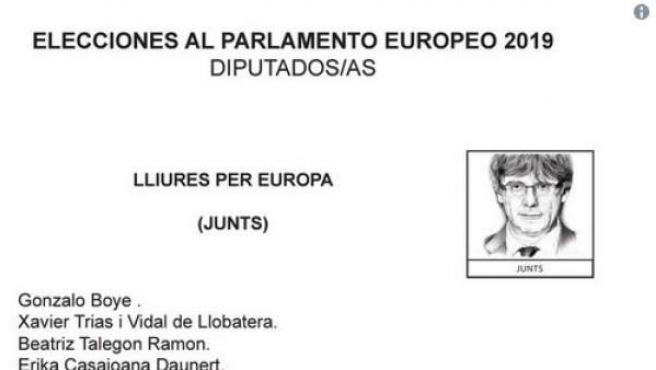 La papeleta, con la imagen de Puigdemont.