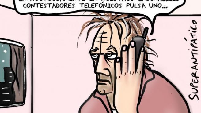 Abuso telefónico, viñeta de Superantipático.