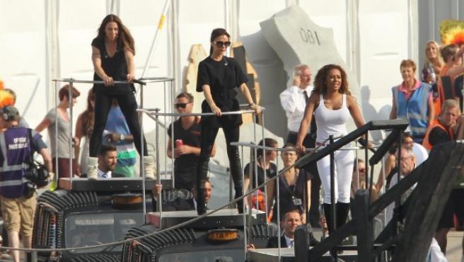 Las Spice Girls durante un ensayo general para la ceremonia de clausura de los Juegos Olímpicos de Londres 2012.