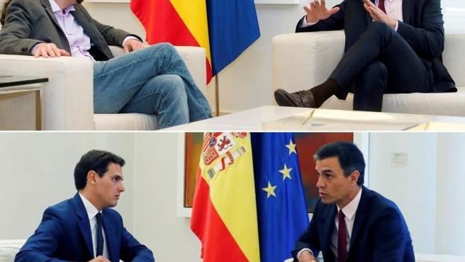 Sánchez, en sus reuniones con Iglesias (Arriba) y Rivera (abajo)