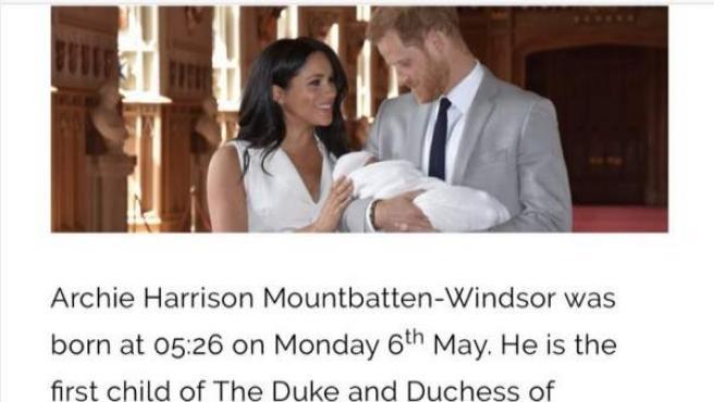El error en la web de la Familia Real Británica, antes de ser corregido.