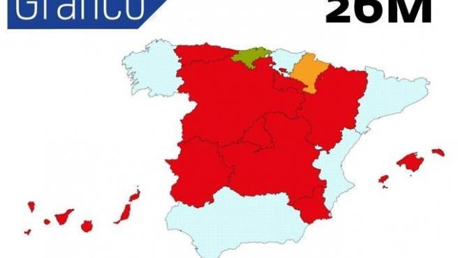 Mapa de cómo quedaría España en las Autonómicas y Municipales.