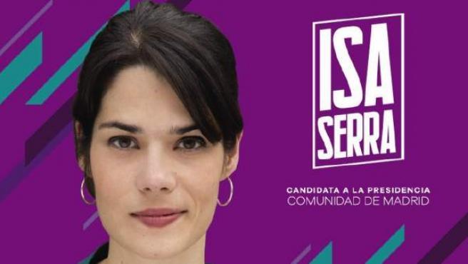 Cartel electoral de Isabel Serra, candidata de Unidas Podemos a la Comunidad de Madrid.