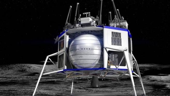 Recreación artística de la nave Blue Moon posada sobre la superficie lunar.