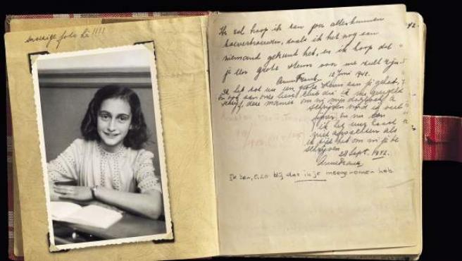 Una imagen original del diario de Anna Frank.