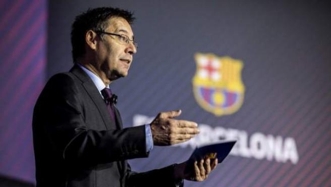 El presidente del FC Barcelona, Josep Maria Bartomeu, en la Asamblea 2018