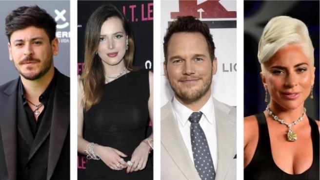 Luis Cepeda, Bella Thorne, Chris Pratt y Lady Gaga.