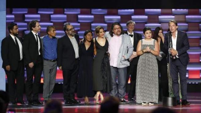 El elenco de la película 'Roma', en la gala de entrega de los Premios Platino del Cine Iberoamericano, celebrada en la Riviera Maya (México).
