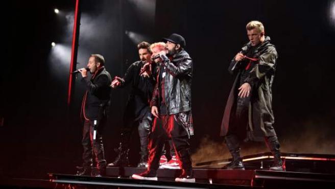 Los Backstreet Boys durante su concierto en Madrid.