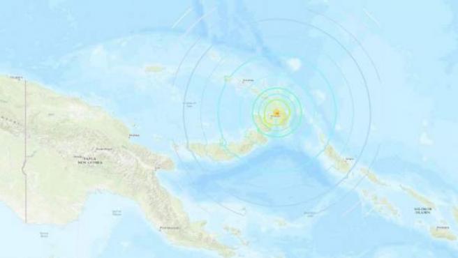 Localización del epicentro del terremoto que sacudió la región oriental de Papúa Nueva Guinea.