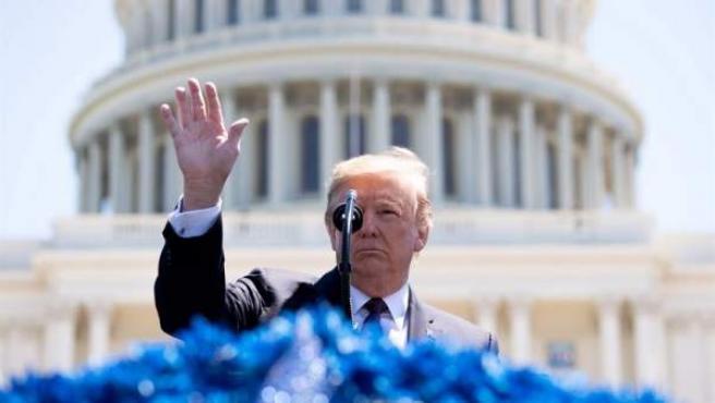 El presidente estadounidense, Donald Trump, durante un acto en el Capitolio, en Washington.