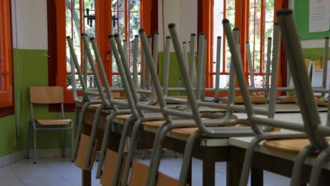 Imagen de la escuela Heura el día de vaga de docentes.