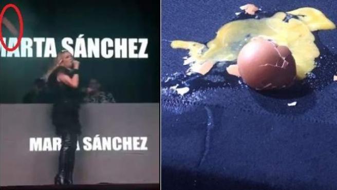 La cantante Marta Sánchez, en Badalona, sufriendo el lanzamiento de huevos.