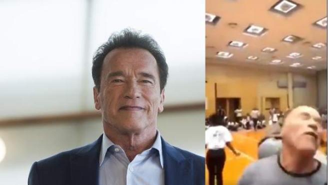 Arnold Schwarzenegger, junto al fotograma del momento que es brutalmente atacado en Sudáfrica.