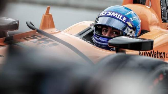 Fernando Alonso, durante la clasificación de las 500 millas de Indianápolis.